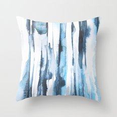 Blue Ice Watercolor Throw Pillow