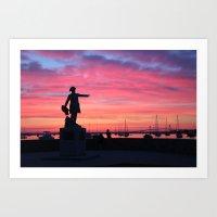 Rochambeau Statue Newport, RI Art Print