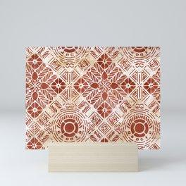Decorative Vintage Pattern Sanguine Red Mini Art Print