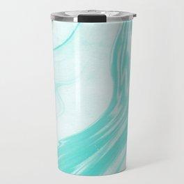 Enoshima - spilled ink abstract painting water ocean japanese wave marble marbling marbled pattern Travel Mug