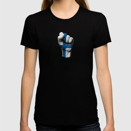 Finnish Flag on a Raised Clenched Fist T-shirt