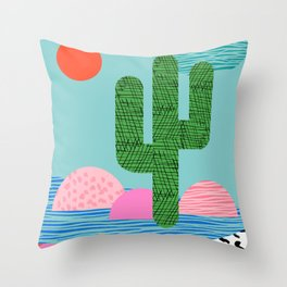 Dip - 80s, memphis art print, cactus art print, kids art prints, sunset, sunrise, desert art Throw Pillow