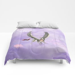 Cute little pegasus with butterflies Comforters