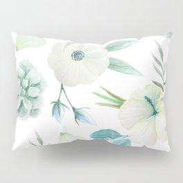 Watercolor Cyan Floral Pillow Sham
