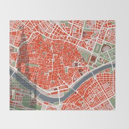 Seville city map classic Throw Blanket