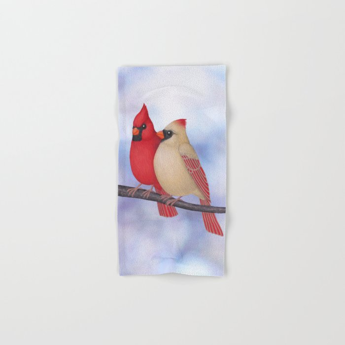 northern cardinals (bokeh) Hand & Bath Towel