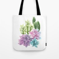 succulents Tote Bags featuring Succulents by Megan Alcock