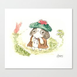 """Arale The Japanese chin """"Reading Books"""" Canvas Print"""