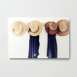 Men's straw hats, hanging inside the farmhouse at Yoder's Amish Home Metal Print