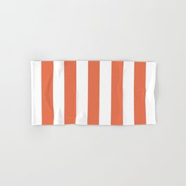 Burnt sienna pink - solid color - white vertical lines pattern Hand & Bath Towel