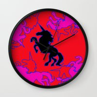 unicorns Wall Clocks featuring Unicorns by Emily Wagner Studio