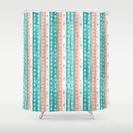 Baltic Bohemian Pattern - Teal Coral Shower Curtain