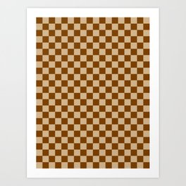 Tan Brown and Chocolate Brown Checkerboard Art Print
