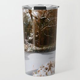 The Old Mill Stream in Winter Travel Mug
