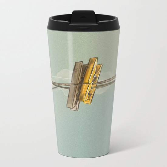 Vintage Clothespin Metal Travel Mug
