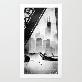 Sears Tower (from the Kinzie Bridge, Chicago, IL) Art Print