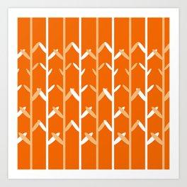 Oat Field Leafy Orange Pattern Art Print