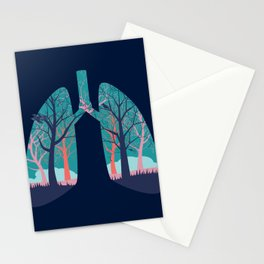 Human lungs with abstract forest inside illustration Stationery Cards