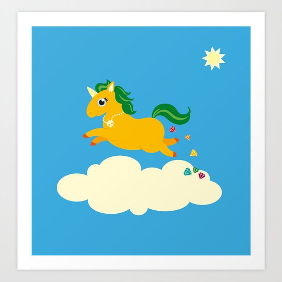 The golden unicorn of glitter poo Art Print
