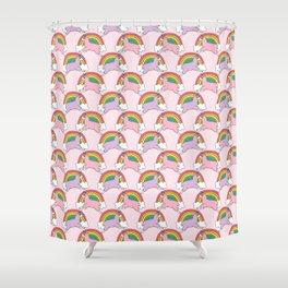 Llamacorns (Llama Unicorns) and Rainbows Shower Curtain