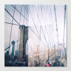 Double Exposed Brooklyn Bridge Canvas Print
