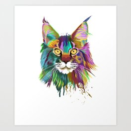 Splash Maine coon Cat Art Print