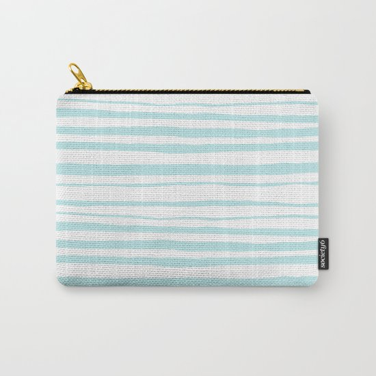 Handmade aqua turquoise Stripes on white - Maritime pattern Carry-All Pouch