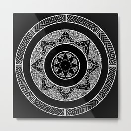 Flower Star Mandala - Black White Metal Print