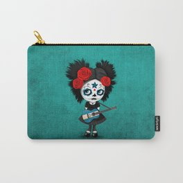 Day of the Dead Girl Playing Honduran Flag Guitar Carry-All Pouch