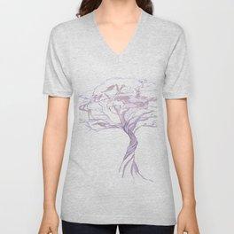 Quiet Acacia Zen Tree , Earthy African Bonsai Peace Lavendar Purple Unisex V-Neck