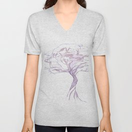Quiet Acacia Zen Tree , Earthy African Bonsai Peace Lavendar Purple Unisex V-Neck