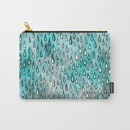 Aqua Raindrops Carry-All Pouch