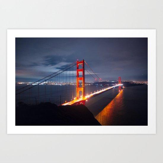 Golden Gate Bridge at Night | San Francisco, CA Art Print