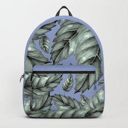 GREEN LEAVES ON BLUE Backpack