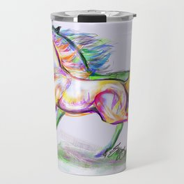 Crayon Bright Horses Travel Mug