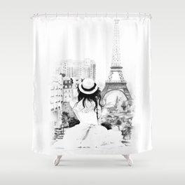 A Girl in Paris Shower Curtain