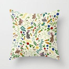 Rabbits In The Garden Throw Pillow
