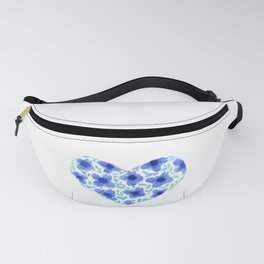 Violets forming a wide heart watercolor painting Fanny Pack