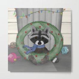 Raccoon Holidays Metal Print