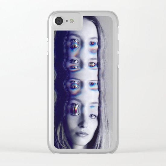 Glitch Mind Melt Clear iPhone Case