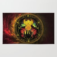 fullmetal Area & Throw Rugs featuring Edward Transmutation Circle by BradixArt