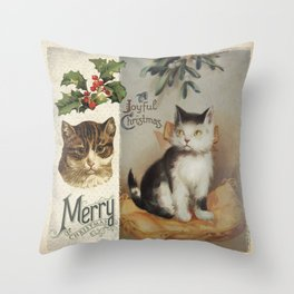 Merry Catmas vintage cat xmas illustration Throw Pillow