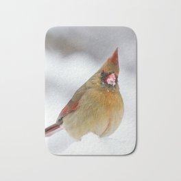 Female Cardinal in The Snow Bath Mat