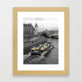 Paris black and white with color GOLD Framed Art Print