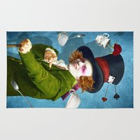 mad Area & Throw Rugs featuring Mad Hatter by Diogo Verissimo