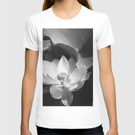 Lotus Blossom in bloom, tropical black and white photograph / art photography by Edward Steichen T-shirt