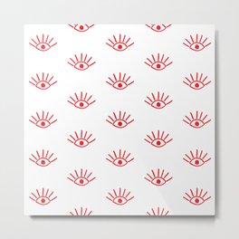Red Evil Eye Pattern Metal Print