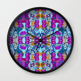 Assorted Floral Layout Under Over Wall Clock