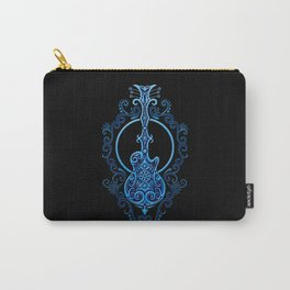 Intricate Blue and Black Electric Guitar Design Carry-All Pouch