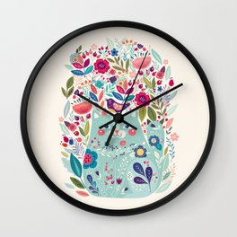 Cute Cozy Watercolour Illustration Scandinavian Style Chubby Blue Cat Floral Forest Illustration Wall Clock
